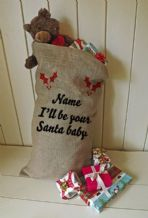 Personalized I'll be you santa baby Large Father Christmas Xmas Santa Sack / Stocking Bag Jute Hessian